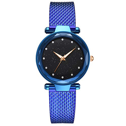 lightclub Rhinestone Starry Sky Dial Women Silicone Imitated Mesh Band Quartz Wrist Watch - Blue Watch for Women Men ()