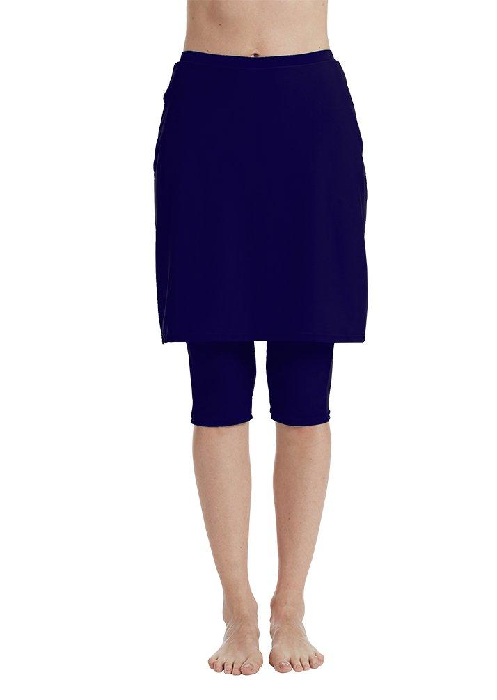LOKTARC Women's Swim Skirt with Leggings Running Skort Skirted Capri Leggings