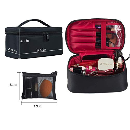 Travel Makeup Bags Small Cosmetic Bag Case Organizer Pouch for Women Black