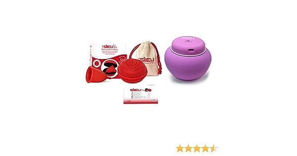 Sileu Travel Plus - Copa menstrual Sileu Rose, Talla L, Rojo, Flexibilidad Soft + Estuche en forma de flor Rojo, 8 cm + Esterilizador eléctrico ...