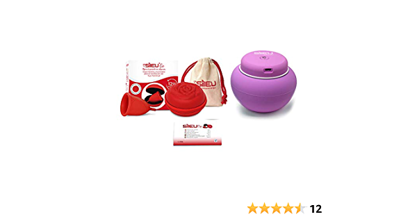 Sileu Travel Plus - Copa menstrual Sileu Rose, Talla S, Rojo, Flexibilidad Soft + Estuche en forma de flor Rojo, 8 cm + Esterilizador eléctrico ...