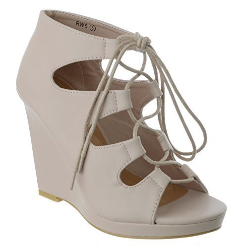 talon cuir ouvert gladiateur à UK Miss Couleur Chair lacets Ghillie bout taille montante Simili femmes Sandales Chaussures IMAGE de compensé wqwnCpzB