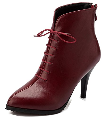 Rouge Cocktail Bout Bottines Tige Aisun Stiletto Courte Sexy Femme Pointu Pg40qwInzx