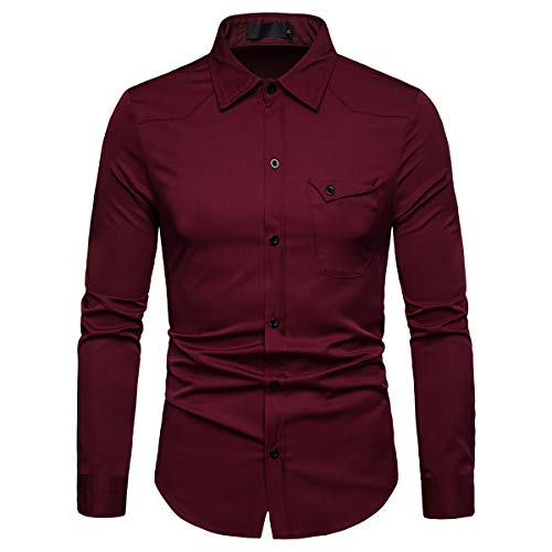 (Cloudstyle Mens Casual Regular Fit Long Sleeve Formal Solid Button Down Dress Shirt Wine Red)