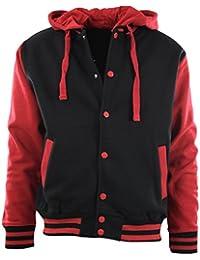 Mens Baseball Varsity Jacket with Detachable Hoodie