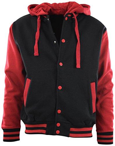 (ChoiceApparel Mens Baseball Varsity Jacket with Detachable Hoodie (2XL, BJ01-Black/Red))
