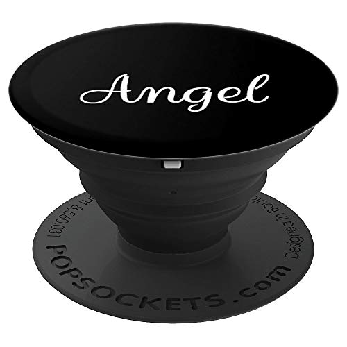 Angel Name Personalized White on Black - Angel - PopSockets Grip and Stand for Phones and Tablets