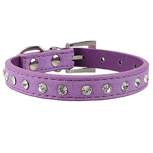 haoyueer Cute Dazzling Sparkling Elegant Fancy Suede Leather 1 Rows Bling Rhinestone Crystal Jeweled Small Pet Cat Dog Puppy Collar(Purple,M)