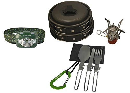 GoBackTrail CAMP COOKWARE Set with CREE LED Headlamp – Non-stick Cooking Mess Kit, Ultralight Stove, Carabiner, Folding Knife Spoon Fork – See what you are cooking while Camping Hiking and Backpacking Review