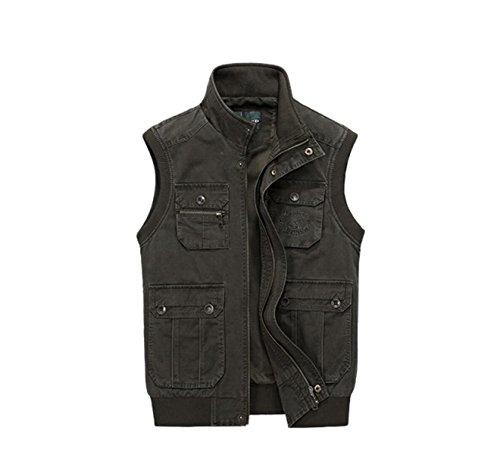 Men 's Jackets Casual Multi Pocket Worker Army Green Vest Green