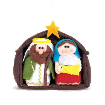 Fabric Nativity 6 Piece (3 Piece Felt Plush Holy Family and Creche)