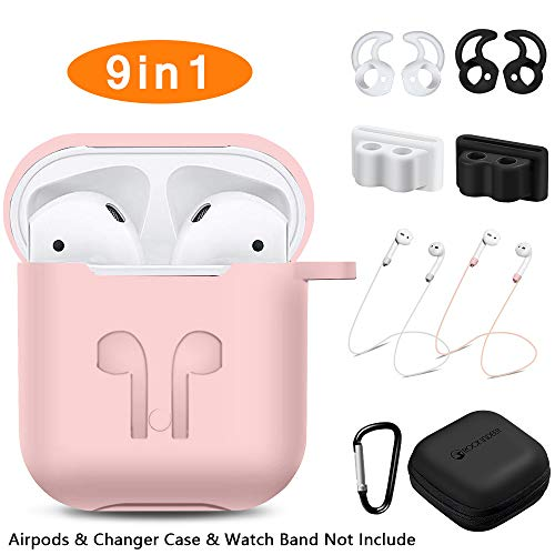 AirPods Case, Rockindeer 9 in 1 AirPods Accessories Set Protective Silicone Cover and Skin Compatible Apple AirPods Charging Case with Watch Band Holder/Ear Hook/Keychain/Strap/Carrying Box (Pink)