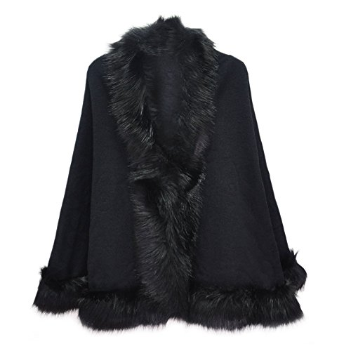 Ladies/Womens Luxury Bridal Faux Fur Shawl Wraps Cloak Coat Sweater Cape, Black, One Size