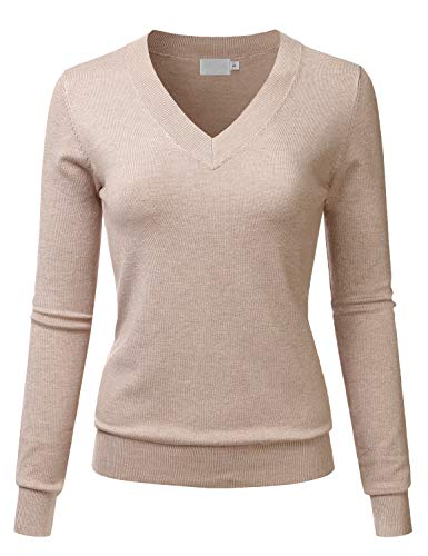 LALABEE Women's V-Neck Long Sleeve Soft Basic Pullover Knit Sweater Khaki S ()