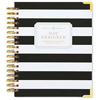 "Day Designer Daily Planner 2018 | Original Flagship | Best Day Planner | Goal Setting | Time Management | Productivity | 9"" x 9.75"" | Black Stripe"