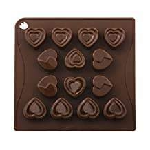 Pavoni CHOCO03 Platinum Silicone Hearts Love Chocolate Mould, Brown