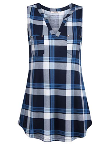 - Vivilli Womens Sleeveless Tunic Tank Tops V Neck Comfy Shirts Sleeveless Blouses for Women Plaid Shirts for Women Loose Fit Knit Top Blouses to Wear with Leggings Blue Cyan Medium