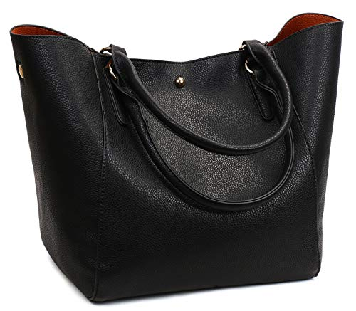 Obosoyo Women's Waterproof Handbags ladies Synthetic Leather Tote Shoulder Bags Fashion Travelling Mommy Soft Hot Black