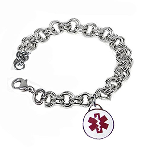 Womens Stainless Medical Alert charm bracelet FREE ENGRAVING ()