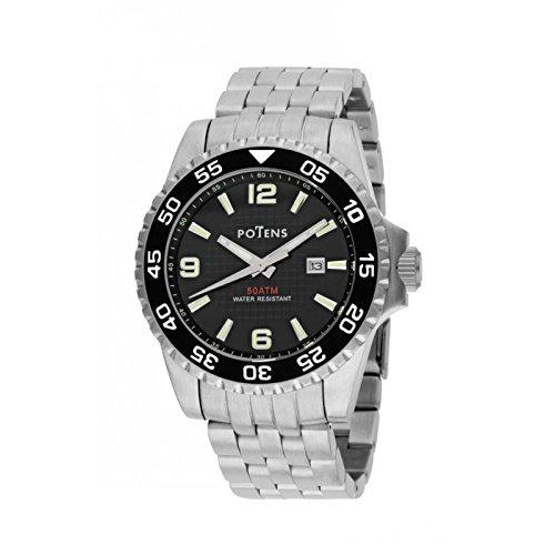 Potens 40-2763-0-2, Reloj de hombre, acero inoxidable. Calendario: Amazon.es: Relojes