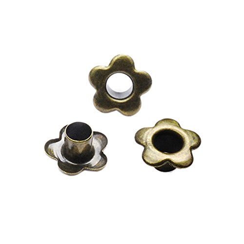 200 Pack Antique Brass Flower Metal Eyelets Hole 5mm for Leathercraft DIY Scrapbooking Shoes Boots Belt Cap Bag Tags Clothes Sewing Fashion Accessories #FET027-5BR