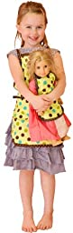 Girl & Doll Green Polka Dot Aprons