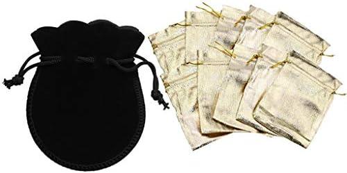 F Fityle 20ピースオーガンザバッグとベルベットバッグ-ミックスカラーサテン巾着オーガンザポーチ結婚式パーティー好意ギフトバッグジュエリー時計バッグ
