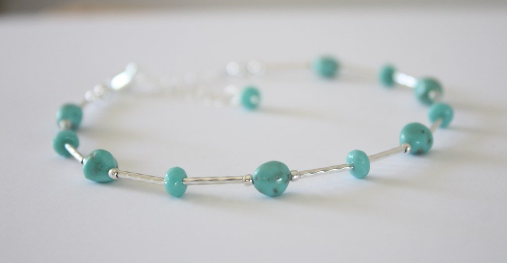 Turquoise Anklet Blue and Green Sterling Silver Beach Jewelry