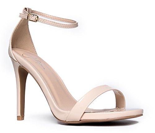 Aria Ankle Strap High Heel, Nude Pat, 10 B(M) (7 Spike Heel Sandals)
