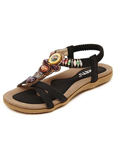 Vogstyle Women's Summer Bead T-Strap Bohemia Roman Sandals Beach Flip Flops & Thongs Style 7-black nhj7GXbGP