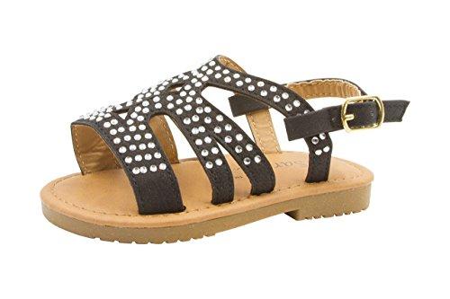 Rhinestone Studded Sandal (Sara Z Toddler Girl's Strappy Rhinestone Studded Flat Sandals 11/12 Black)