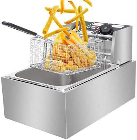 [US in Stock] Commercial Deep Fryer, 6.3QT/6L 2500W MAX Stainless Steel Electric Deep Fryer with Basket, Countertop Fryer Deep Fryer for Chicken Chips Fries French Fries Restaurant Home Kitchen (6.3QT/6L)