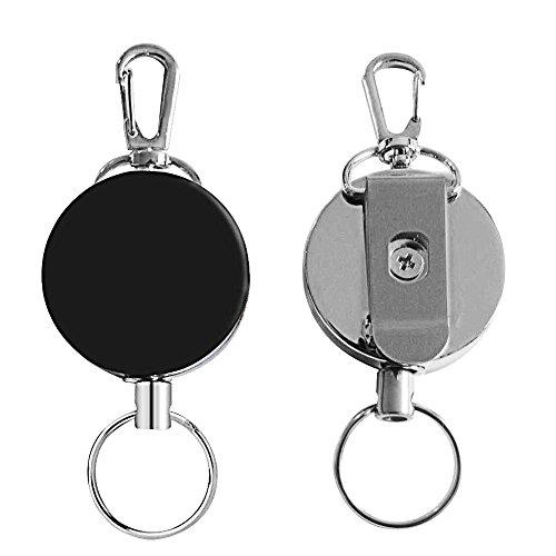 Badge Reel, Heavy Duty Retractable Badge Reel Half Metal Key Reels Retracting Badge Clips with Metal Casing, Split Ring, Steel Cord Reel(24-Inch Extension) (2-Pack)