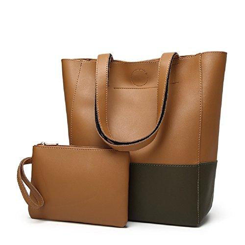 SYGoodBUY Bolso elegante del bolso de la mujer del cuero de la vendimia bolso de hombro del viaje de la capacidad grande, la bolsa de asas + la cartera (Color : Verde, tamaño : Un tamaño) Brown+grey
