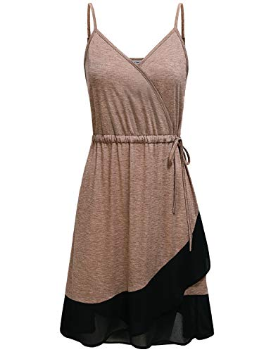(Tunic Dresses for Women, Ladies Criss Cross Vneck Sleeveless Spaghetti Strap Wrap Side Tie Waist Asymmetrical Ruffle Hem Stretchy Knit Mini Cami Tank Dress Daily Wear Beige XL)