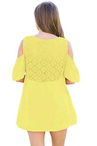 New Yellow crochet collo & nero freddo spalla camicetta estate camicia top casual Wear taglia UK 14EU 42