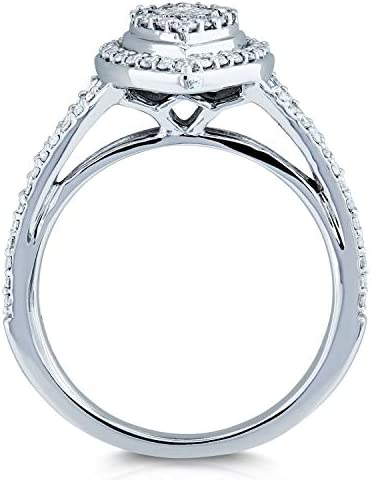 Kobelli Boat Shape Cluster Split Shank Diamond Ring 10k White Gold