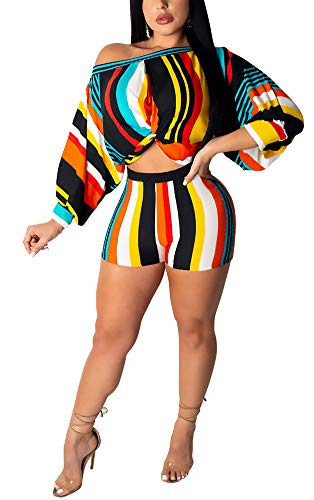 Halfword Women Plus Size Two Pieces Outfits Multicolor Striped Printed - Sexy Fashion Off Shoulder Bubble Sleeve Jumpsuits White M