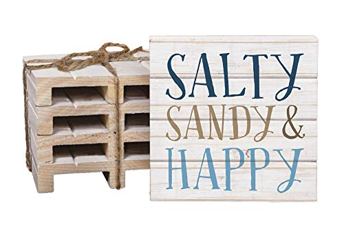 Salty Sandy & Happy Whitewash 4 x 4 Inch Dried Pine Wood Pallet Coaster, Pack of 4