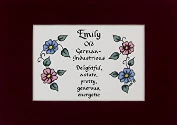 Personalized Name Meaning Emily Wall Picture Keepsake Gift Made In The USA