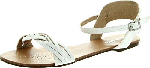 Sandals Maya White Ankle Womens 2 Band 8 Bonnibel Vamp Strap Weave Flat Buckle Av566q