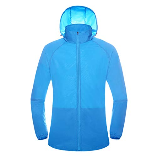Women Mens Windproof Cycling Jackets with Hoodie Bike Reflective Rain Jacket Long Sleeve Bicycle Wind Coat Sky Blue -