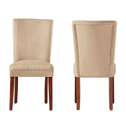 ModHaus Modern Light Brown Microfiber Fabric Parsons Style Dining Side Chairs | Wood Finish Wooden Legs – Set of 2 Includes ModHaus Living (TM) Pen Review