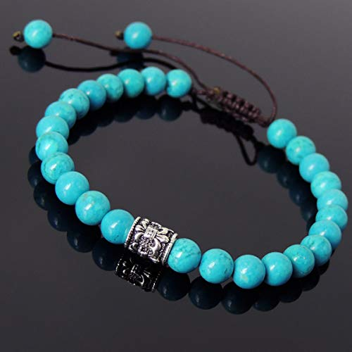 FidgetGear Men Women Bracelet Braided 6mm Turquoise Sterling Silver Fleur de Lis 778