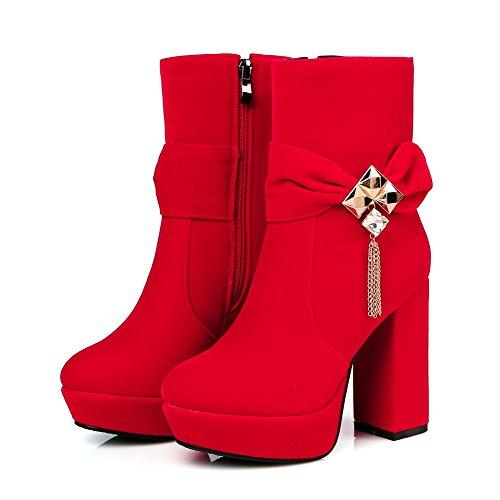 AllhqFashion Mujeres Tacón ancho Tachonado Puntera Redonda Cremallera Botas con Diamante Rojo