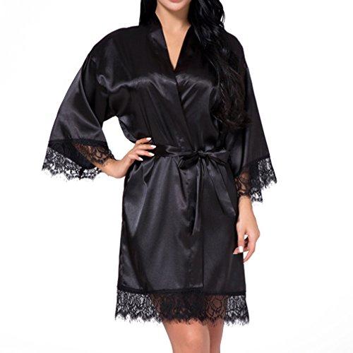 Sexy da Pizzo Dressing Satin di notte Wedding seta notte Nero Robe Hibote Kimono da Accappatoio Gown Breve Sposa Donna dwEfdaqxz
