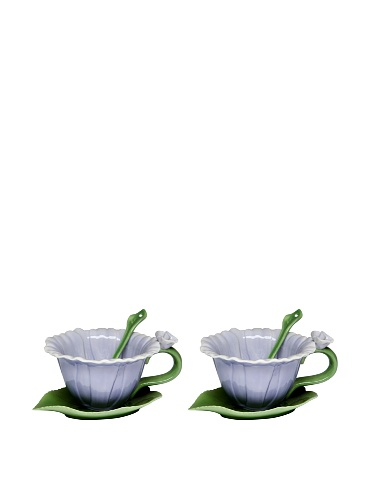 Cg SS-CG-10396, Blue Dahlia 6-pc Set with 2 Cups, Saucers and Spoon Collectible, Purple