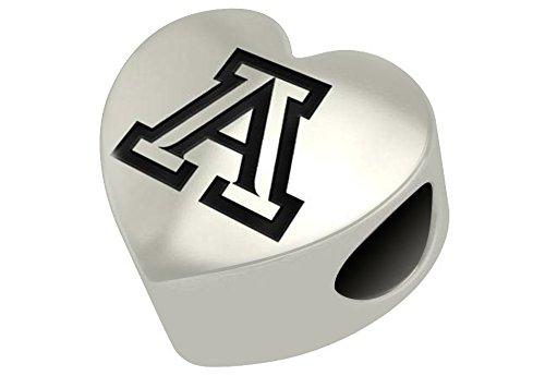 Arizona Wildcats Heart (University of Arizona Wildcats Sterling Silver Heart Bead Fits Most European Style Charm Bracelets)