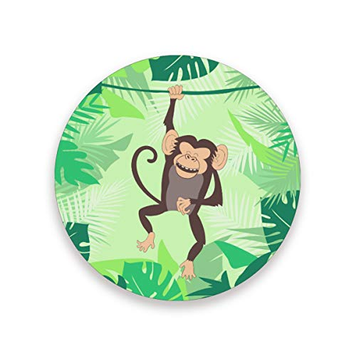 Ceramic Coaster Set of 4 Absorbent Coaster with Protective Cork Base Cute Cartoon Animals Monkey Coasters for Drinks Coffee Mug Glass Cup Place Mats Home Decor Style