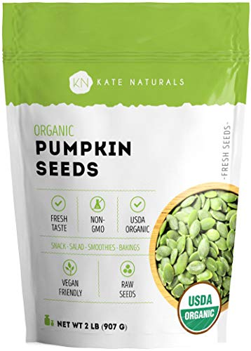 Organic Pumpkin Seeds Raw by Kate Naturals. Perfect for Snack, Salads & Smoothies. Unsalted. Premium Pepitas. USDA Organic and NON-GMO. Large Resealable Bag. 1-Year Guarantee. ((32 oz))